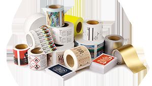 Разнообразие от цветни етикети с бял тонер върху различни медии, материали и повърхности