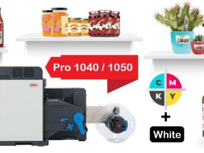 Разнообразие от цветни етикети с бял тонер върху различни медии, материали и повърхности, разпечатани с цветни етикетни принтери от Pro серията на OKI