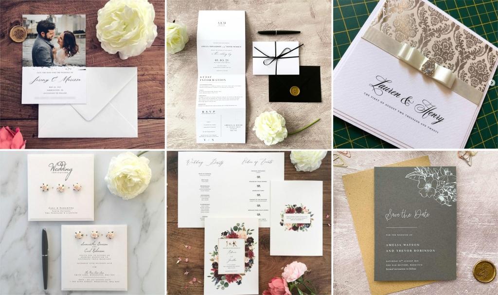 Сватбени картички и покани с индивидуален дизайн. разпечатани с принтер на OKI Pro9542 с бял тонер