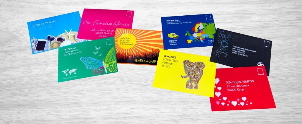 Цветни пликове, разпечатани с принтера на OKI за пликове OKI Pro Series Envelope Printer с 5 цвята