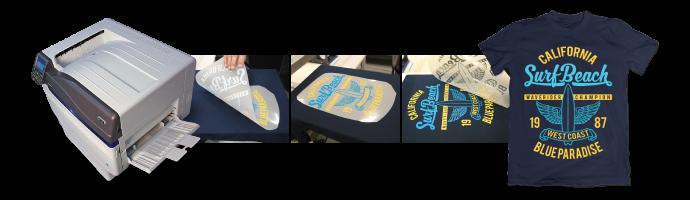 Тениски, брандирани с термотрансфер с графичния принтер на OKI Pro9541WT